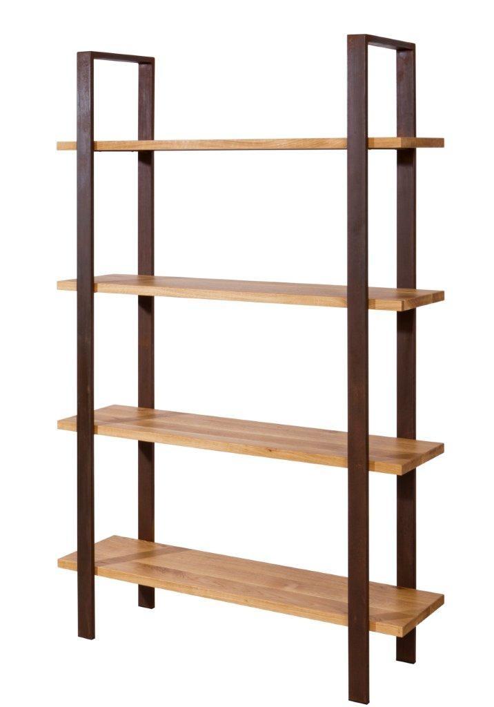 Poddasze, LOFT meble na wymiar - Regał z półkami z litego drewna - dąb naturalny lakierowany. Rama regału - rdza.