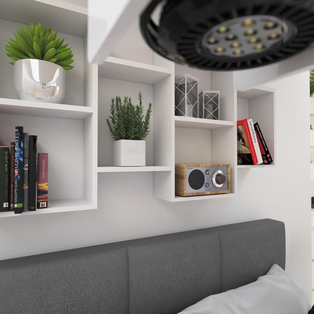Sypialnia, Mała sypialnia w nowoczesnym stylu - Małe sypialnie często stwarzają problemy podczas aranżacji i zagospodarowaniu dostępnej przestrzeni. Aby zapewnić idealne miejsce do wypoczynku, spania i przechowywania, należy wybrać taki model szafy, łóżka i innych elementów, pozwalających na maksymalne wykorzystanie niewielkiej przestrzeni sypialni.  Dobrym rozwiązaniem jest zakup mebli w których dostępna jest możliwość doboru odpowiednich rozmiarów.