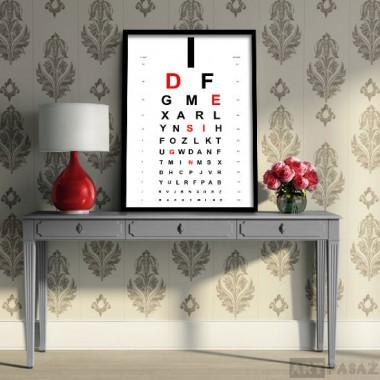 plakat w ramie z motywem tablicy do badania wzroku