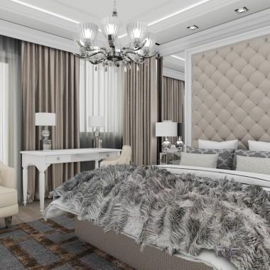 Projekt wnętrza sypialni.