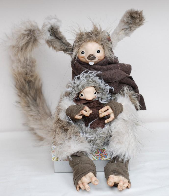 Pozostałe, lalki artystyczne - moja kolekcja - cd. - Una and Baby Poseable Critters - autor Grace Cooke - http://gracecookeartwork.com/index.htm