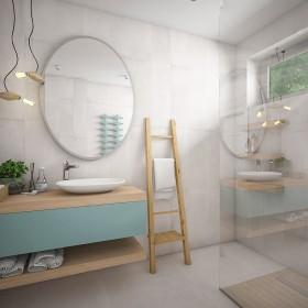 Projekt łazienki z turkusem