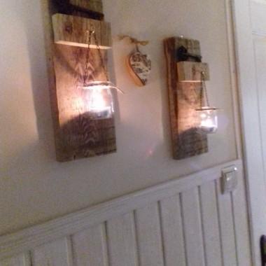 Świeczniki zrobione z desek które zwinęłam mojemu mężusiowi...hihi