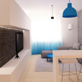 Pokój dzienny z kuchnią w gradiencie