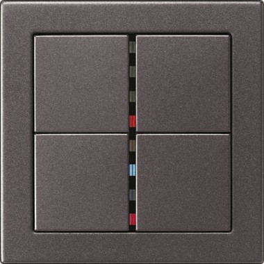 Poczwórny przycisk z diodami sygnalizacyjnymi, antracytowy.