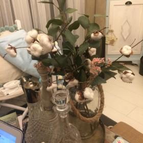 kwiaty bawełny  ręcznie zrobione