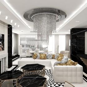Salon nowoczesny czarno-biały