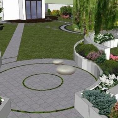 Ogrody nowoczesne, ściana wodna i oczko wodne