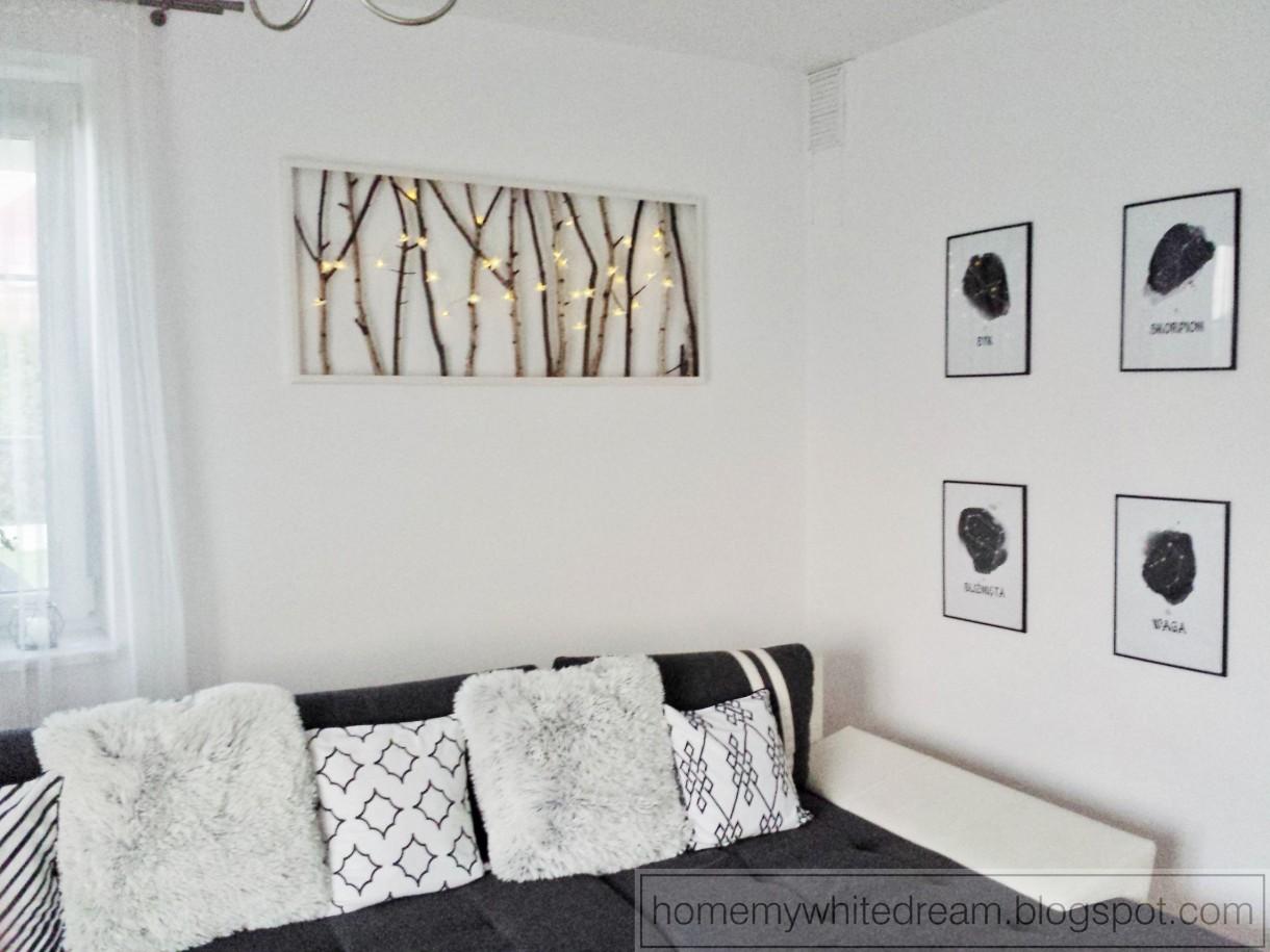 Dekoracje, DIY - świecący obraz z gałęzi.