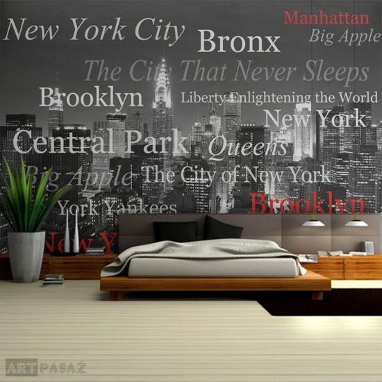 Pozostałe, dekoracje z literami, cytatami - designerska fototapeta z Nowym Jorkiem. Czarno-biały wzór z czerwonymi dodatkami
