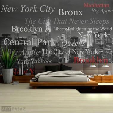designerska fototapeta z Nowym Jorkiem. Czarno-biały wzór z czerwonymi dodatkami