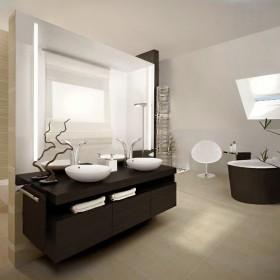 Główna łazienka przy sypialni, dom jednorodzinny