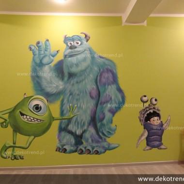 artystyczne malowanie ścian, malowidła ścienne, malunki na ścianie, pokój dziecięcy, pokój dla dziecka, pokój dla dziewczynki, pokój dla chłopca, pokój dla dziewczynki, dekoracja ścian, Potwory i spółka