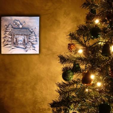 """płaskorzeźba """"Szopka bożonarodzeniowa"""" w wersji barwy ziemi"""