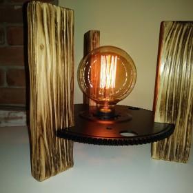 Metal i drewno - lampka