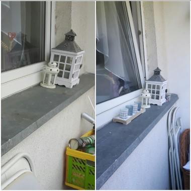Zainspirowana pewnym małym balkonem, którego zdjęcia widziałam na Deccorii doszłam do wniosku, że mojemu mikroskopijnemu balkonowi też przydałoby się zmiana. Nie kosztowało nas to dużo wysiłku i pieniędzy a z efektu końcowego jestem bardzo zadowolona :)