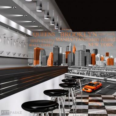 pomarańczowa taksówka w Nowym Jorku