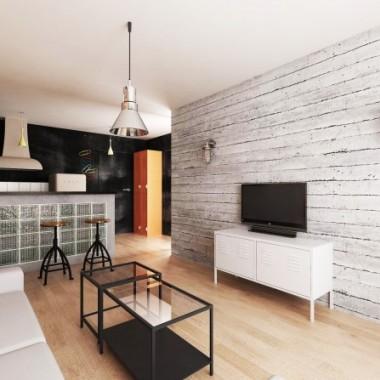 Gotowy projekt mieszkania w stylu industrialnym.