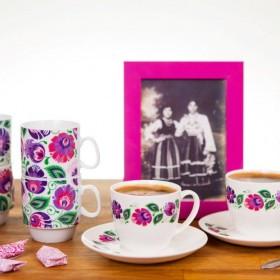 FOLK zestaw Biała filiżanka kubek z fioletowym wzorem łowickim