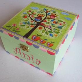 decoupage :) pudełko z sowami