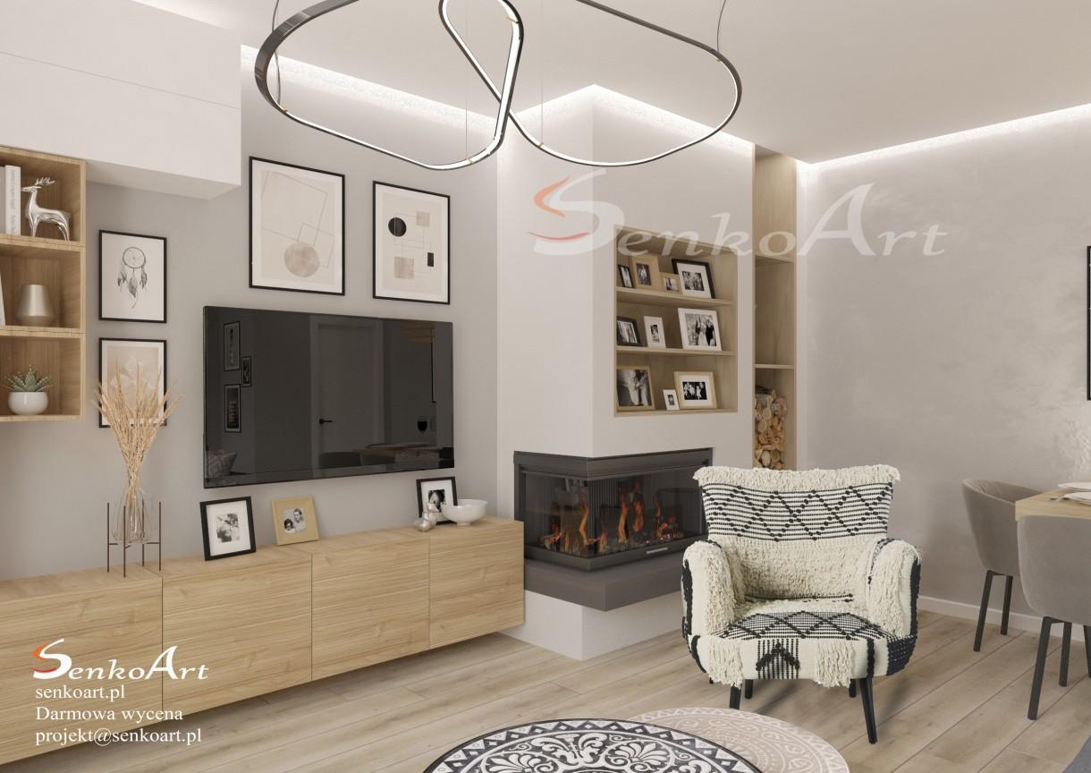 Salon, Projekt salonu w domu jednorodzinnym - Prezentujemy Państwu projekt nowoczesnego salonu w domu jednorodzinnym dla naszej klientki. W projektcie wykorzystujemy drewno wraz płytkami marokańskimi.