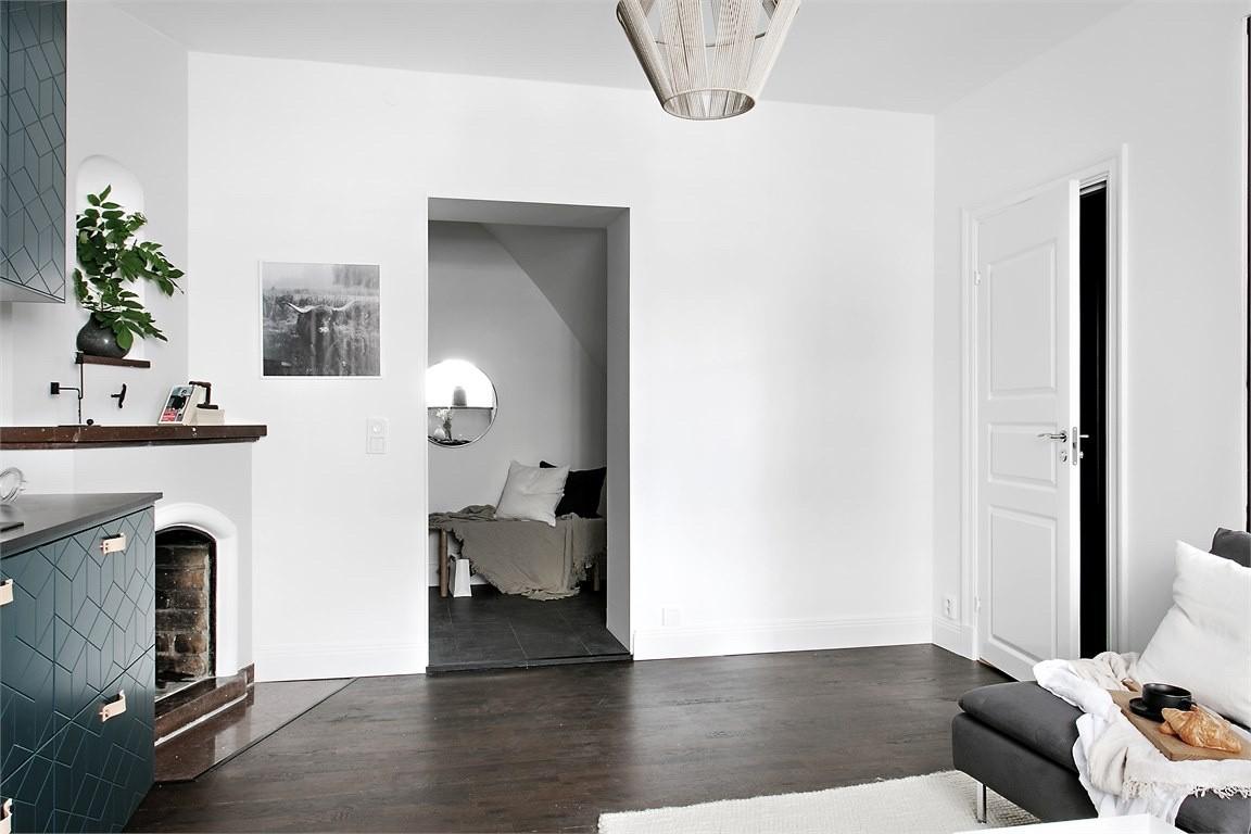 Salon, 36 metrów w skandynawskim stylu