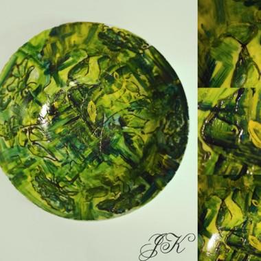 """""""zielone impresje""""misa ręcznie malowanawypalana technika mieszana"""
