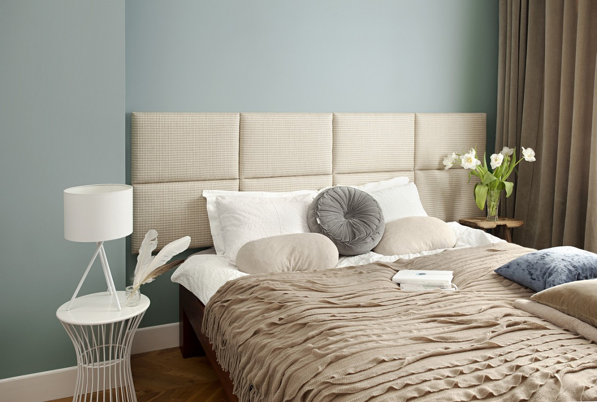 Sypialnia, zagłówek modułowy made for bed - Piękna lniana pepitka do sypialni o łagodnym, kobiecym charakterze