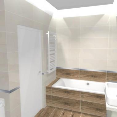 Duża łazienka z wanną i wnęką na pralkę
