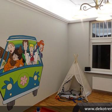artystyczne malowanie ścian, malowidła ścienne, malunki na ścianie, pokój dziecięcy, pokój dla dziecka, pokój dla dziewczynki, pokój dla chłopca, pokój dla dziewczynki, dekoracja ścian, Scooby Doo
