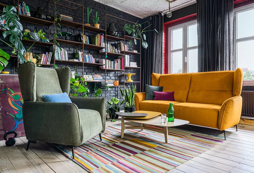 Salon, Kolor na salonach - Jednym z najczęściej wybieranych, modnych teraz kolorów, jest wyróżniająca się elegancją i aranżacyjną mocą ciemna zieleń. Wystarczy spojrzeć na szezlong Nicea Gala Collezione, by zrozumieć, jaki przekaz może mieć wnętrze z akcentami szmaragdu.