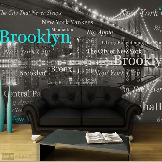 Pozostałe, dekoracje z literami, cytatami - fototapeta z Mostem Brooklińskim