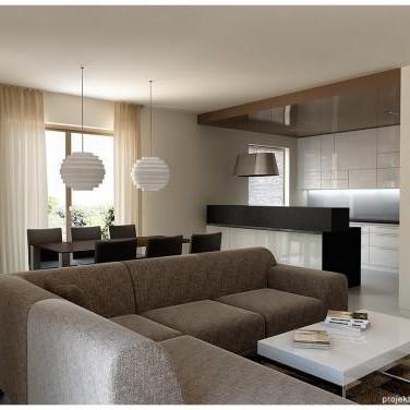 fajowa sofa i sufit w kuchni