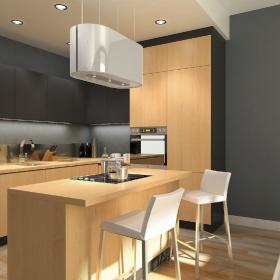 Modernistyczna kuchnia z białym okapem