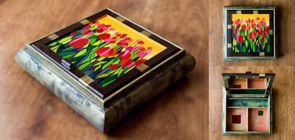 Dekoracje, DREWNIANE-RĘCZNIE MALOWANE -szkatułki - toaletka z lusterkiem