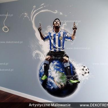 artystyczne malowanie ścian, malowidła ścienne, malunki na ścianie, pokój dziecięcy, pokój dla dziecka, pokój dla chłopca, dekoracja ścian, piłka nożna, Messi, FC Barcelona