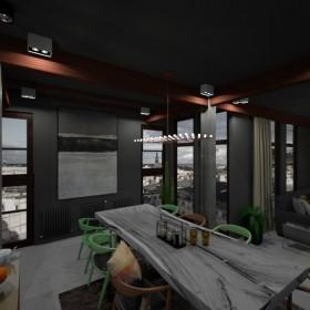 Salon z aneksem kuchennym w stylu loftowym