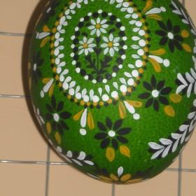 ozdoby wielkanocne,recznie malowane jajka strusie,wydmuszki