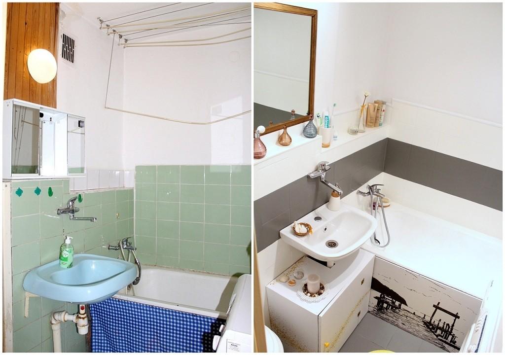 Łazienka, Metamorfoza łazienki w bloku - Metamorfoza łazienki w bloku z niskim budżetem. Szczegóły wraz z kosztorysem na blogu! Zapraszamy. - http://dekostacja.pl/2017/07/06/metamorfoza-lazienki-w-bloku/