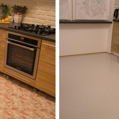 Było->Jest. Wcześniej wspominałam, że fundusze nie pozwoliły na wymianę płytek podłogowych podczas wymiany mebli w kuchni. Zdecydowałam się więc na farbę do malowania płytek:) oto efekty-wrzucam kilka fotek, które jeszcze na świeżo udało mi się zrobić:). Tu można poczytać co to za farba: http://www.noxan.pl/higiena/farba-do-plytek-ceramicznych.html#farba-do-plytek