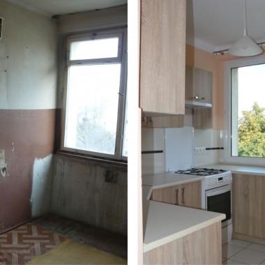 Tak wyglądało mieszkanie przed remontem i po remoncie - kuchnia