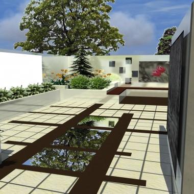 Nowoczesny ogród z lustrami. Zastosowanie roślin niewymagających dużych pielęgnacji, wykorzystanie  punktowego oświetlenia na obrzeżach rabat, które nakładów wydobywają z mroku sylwetki roślin stwarzają atmosferę odpoczynku.
