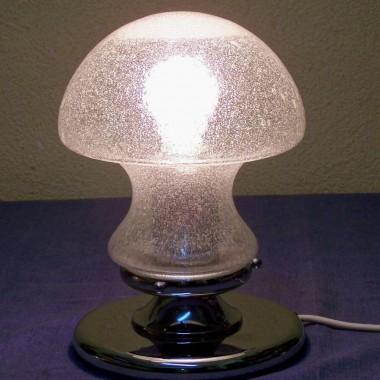 futurystyczna lampka nocna design lat 70 chrom i szkło
