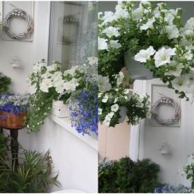 Biało-niebieski balkon...