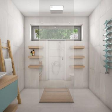 Projekt niewielkiej łazienki w domu jednorodzonym z akcentem kolorystycznym