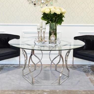 Stół do jadalni stal szklany nowoczesny styl glamour przeźroczysty RAFFAELLO