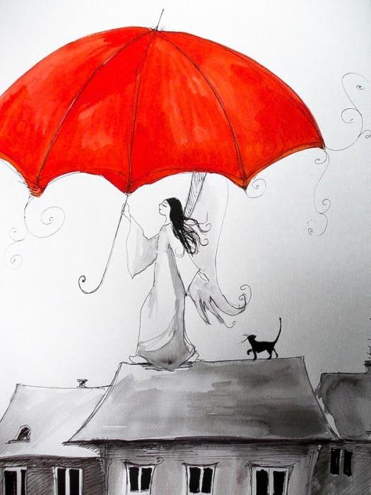 """Sprzedam, """"ANIOŁY"""" akwarele artystki plastyka Adriany Laube - """"Czerwony parasol"""""""
