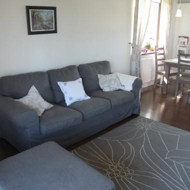 Salon z bardzo wygodną sofą... Dywan  raczej do wymiany. Obrazek rzeczywiście ginie na tej wielkiej ścianie. Czekam zatem na Wasze propozycje:)