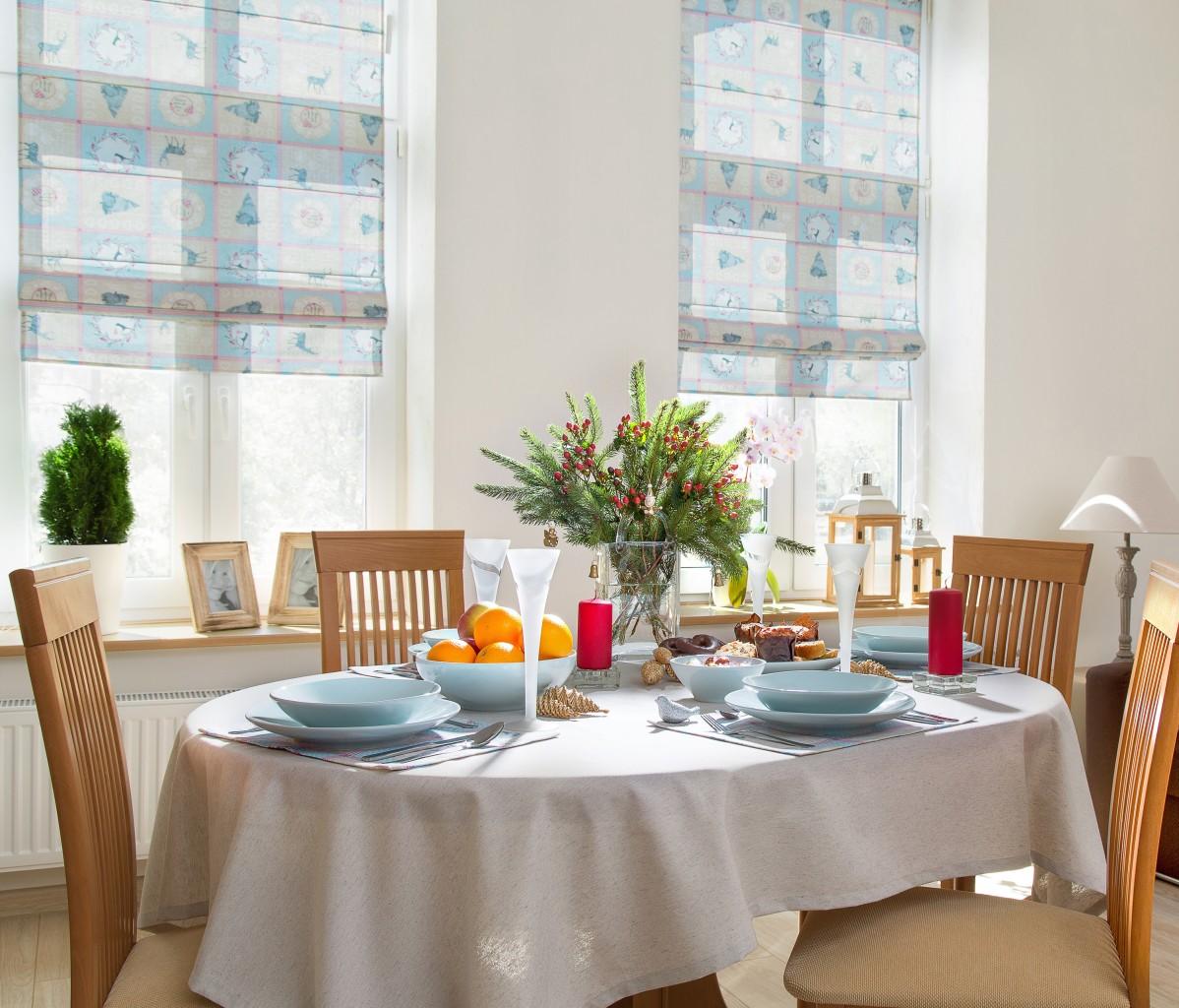 Pozostałe, Świąteczne inspiracje - Błękitna odsłona zimowej jadalni