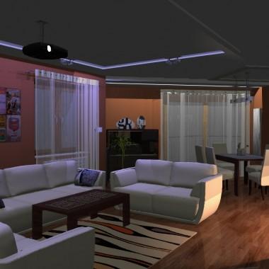 Dwie wersje pokoju dziennego - koncepcja projektu